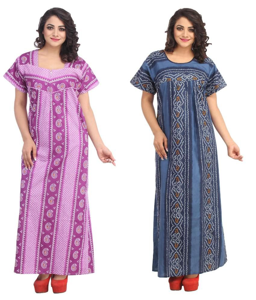 Simrit Multi Color Cotton Nighty & Night Gowns Pack of 2