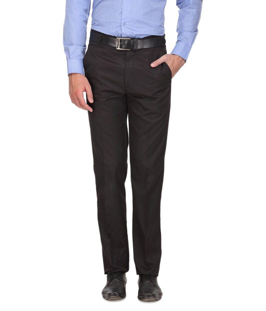 Ausy Black Slim Fit Flat Trouser