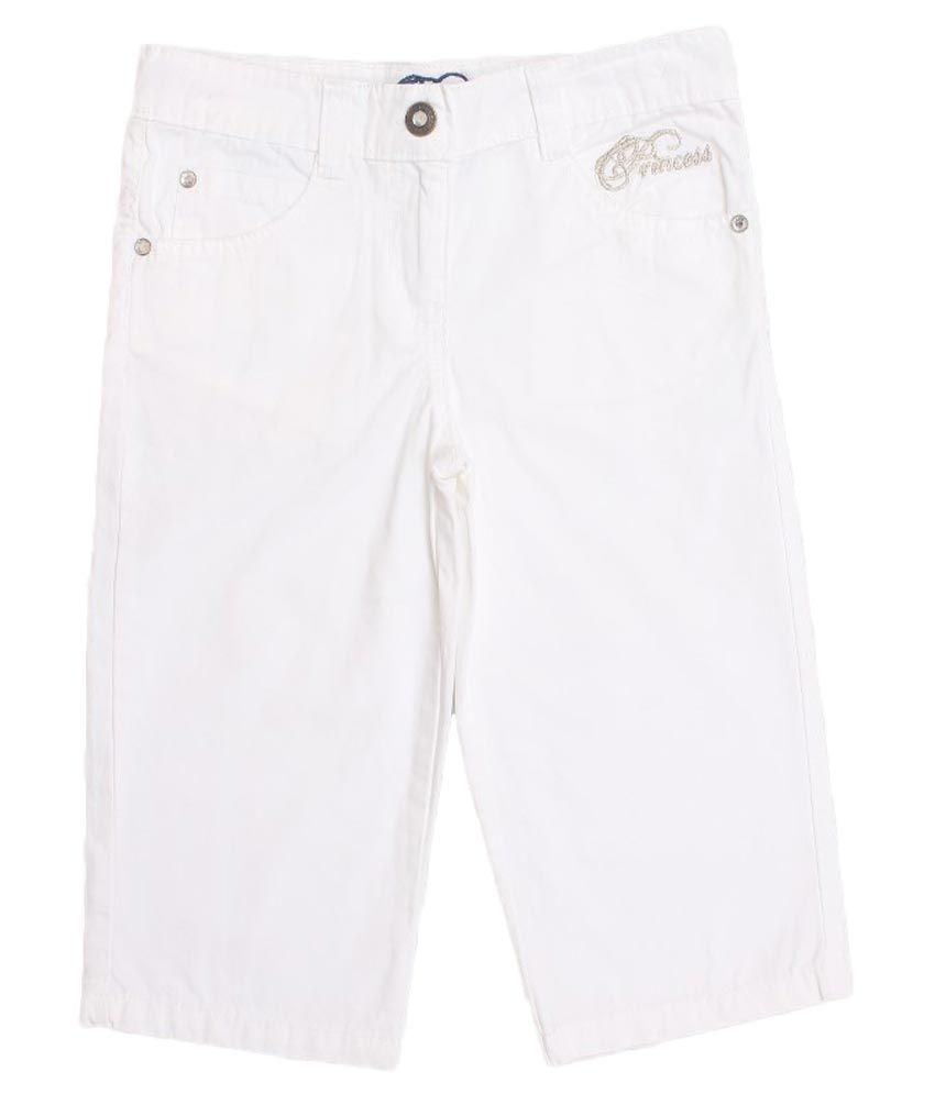 Lilliput White Cotton Capri