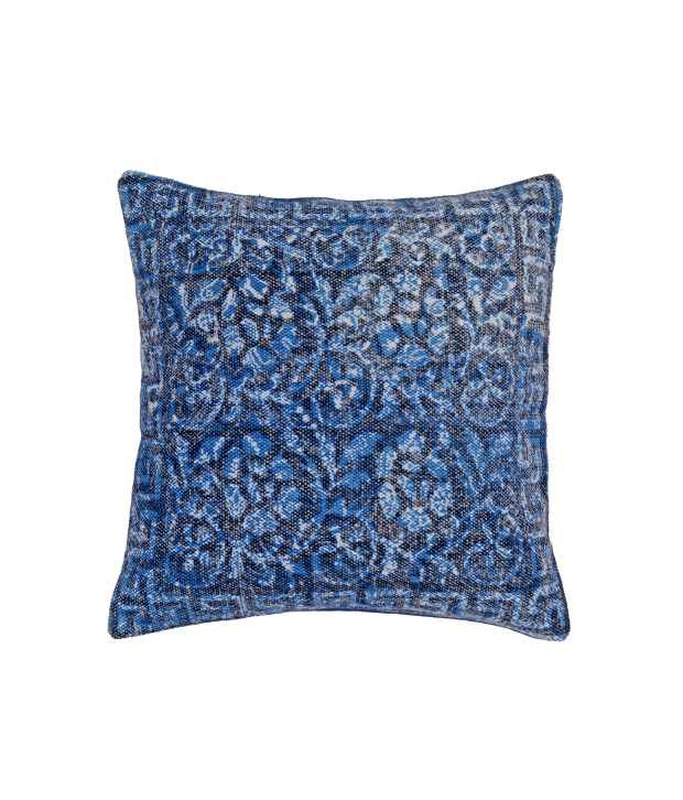 Natural Furnish Blue Floral Cotton Cushion Cover
