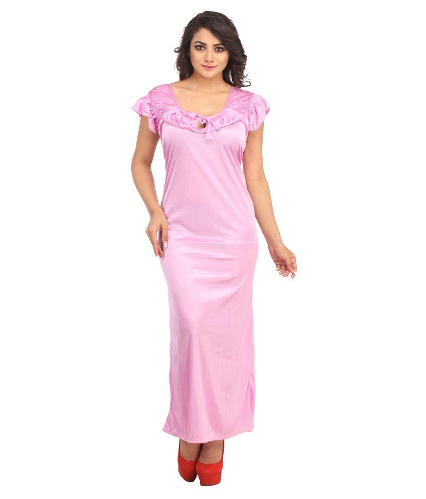 Aasma Pink Satin Nighty