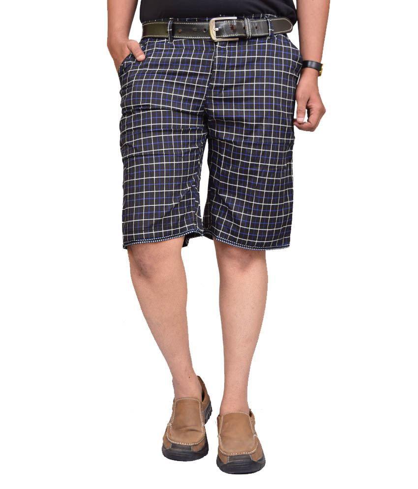 British Terminal Black Cotton Shorts
