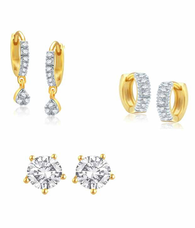 Jewels Gold Golden Alloy American Diamonds Floral Earrings Combo - Combo Of 3