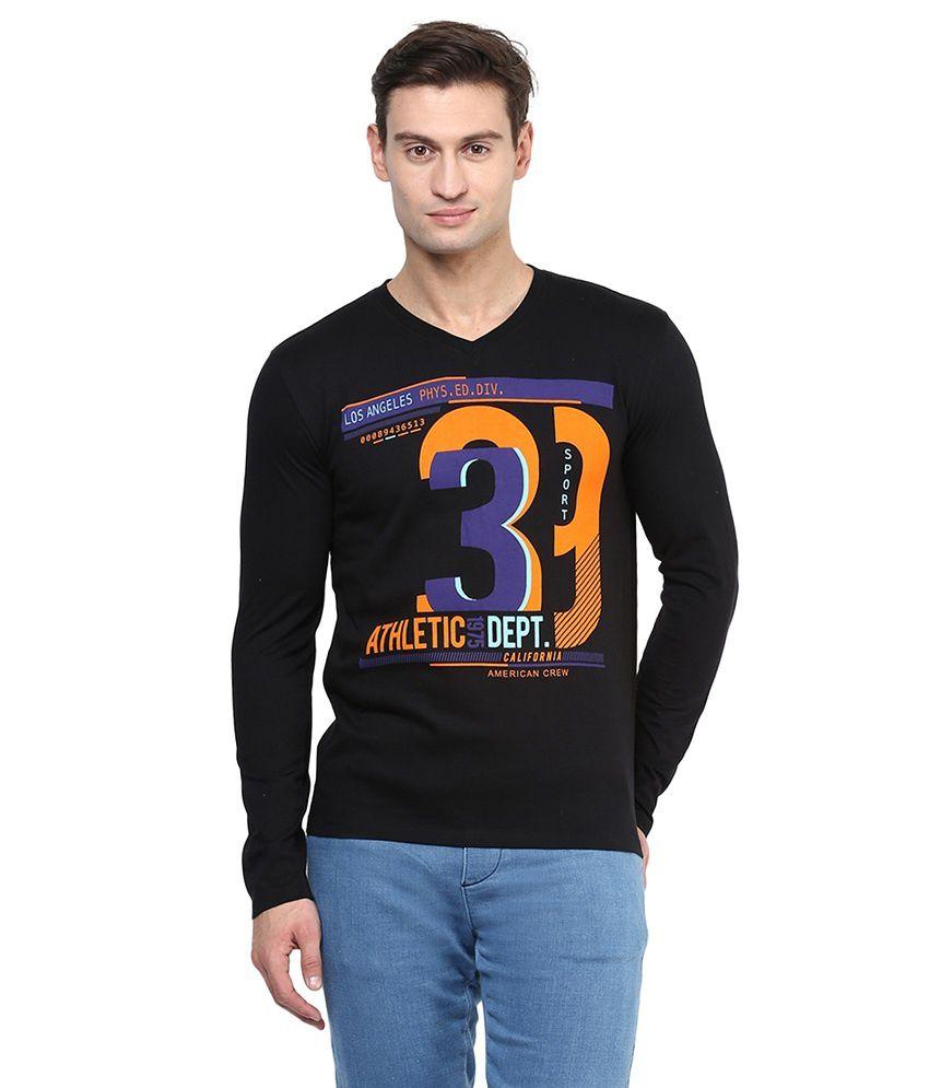 American Crew Black Cotton T-shirt