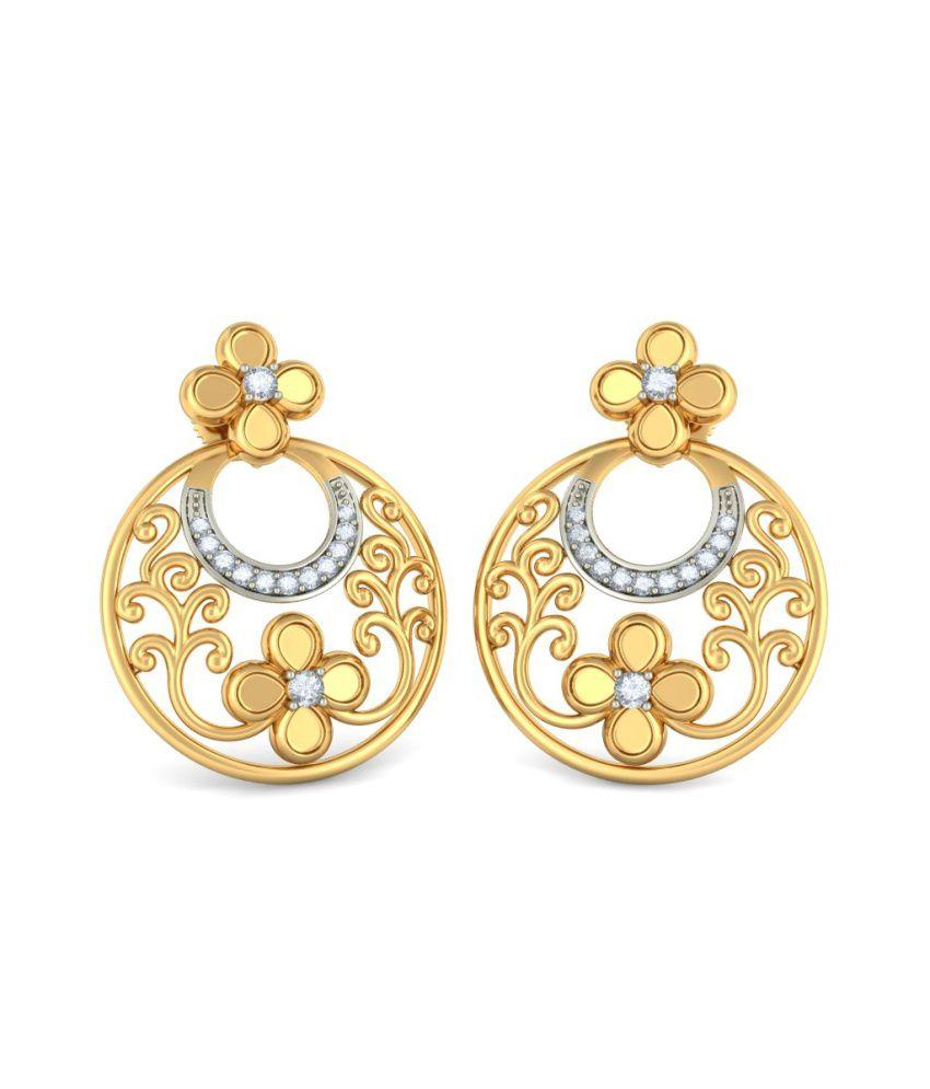 Bluestone 18kt Yellow Gold Diamond Dilkash Earrings