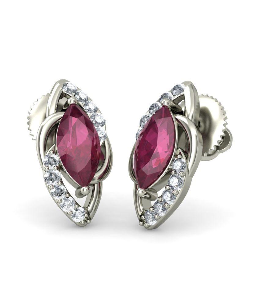 Bluestone 18kt White Gold Diamond & Ruby Rivaan Earrings