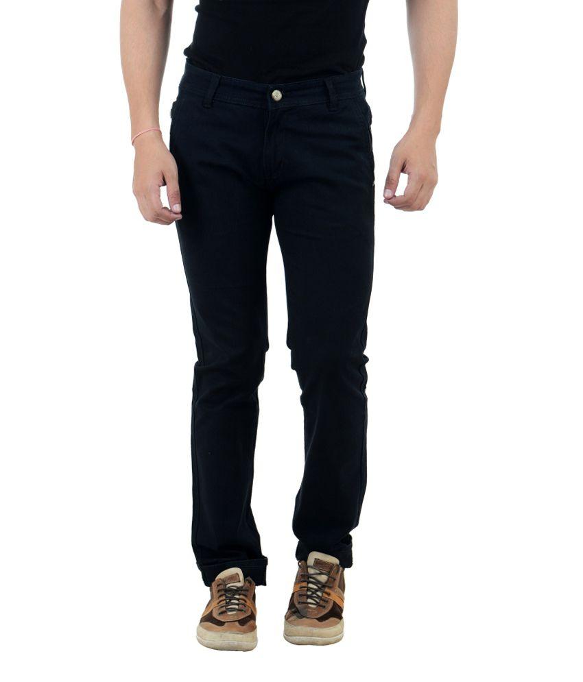 FBM Black Slim Fit Casual Trouser