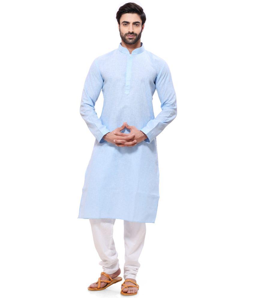 Rg Designers Blue Festive Cotton Long Kurta Pyjama Set