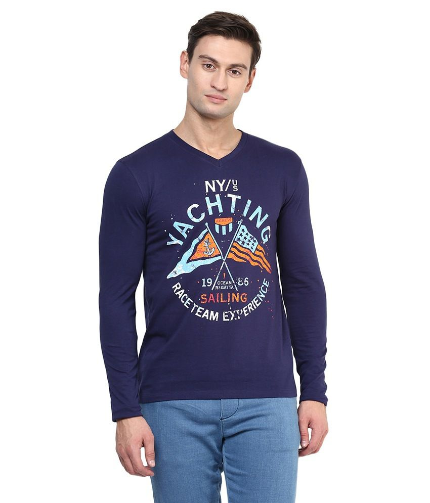 American Crew Navy Blue Cotton T-shirt
