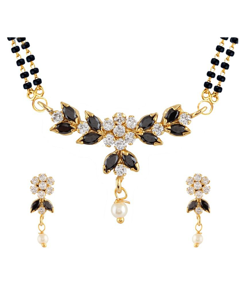 Archi Collection Golden Alloy Mangalsutra With Earrings