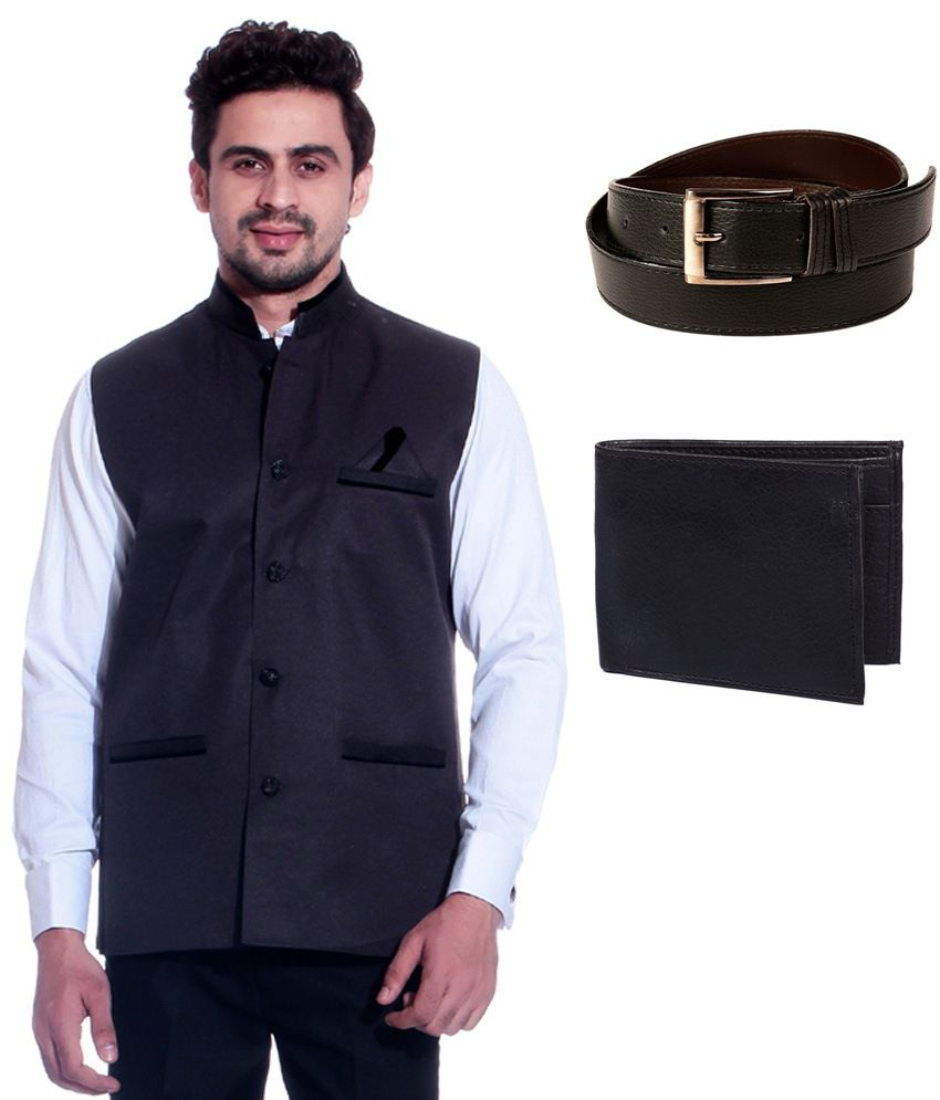 Calibro Violet Sleeveless Nehru Jacket with Belt and Wallet Combo