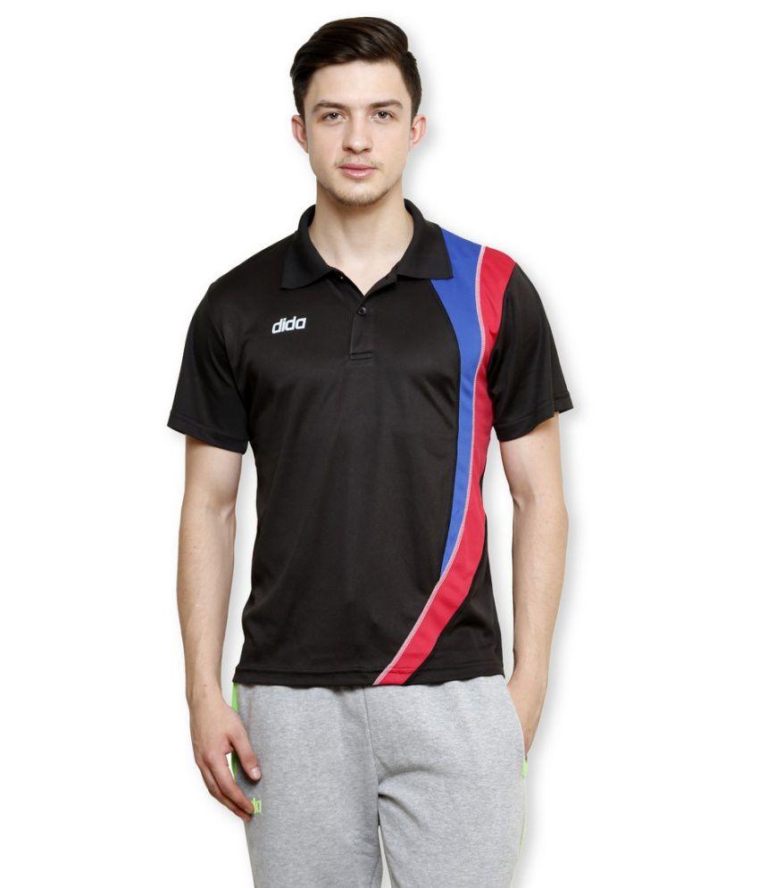 Dida Black Polyester Polo T-shirt