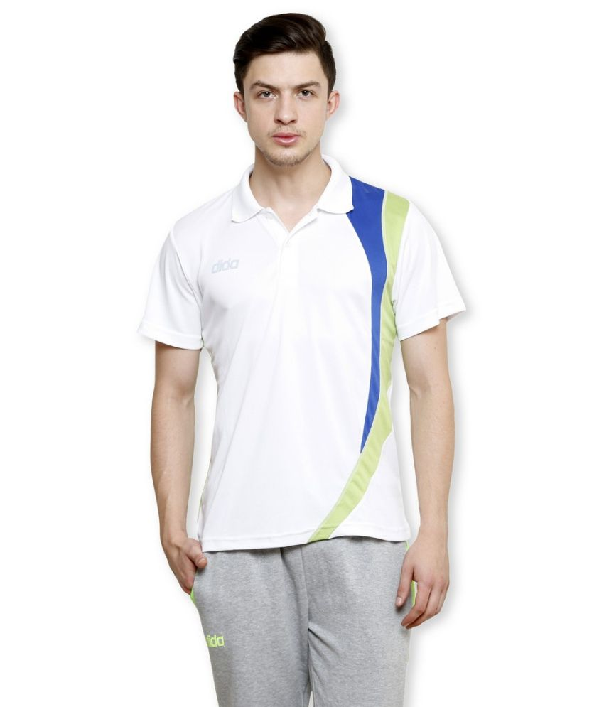 Dida White Polyester Polo T-shirt