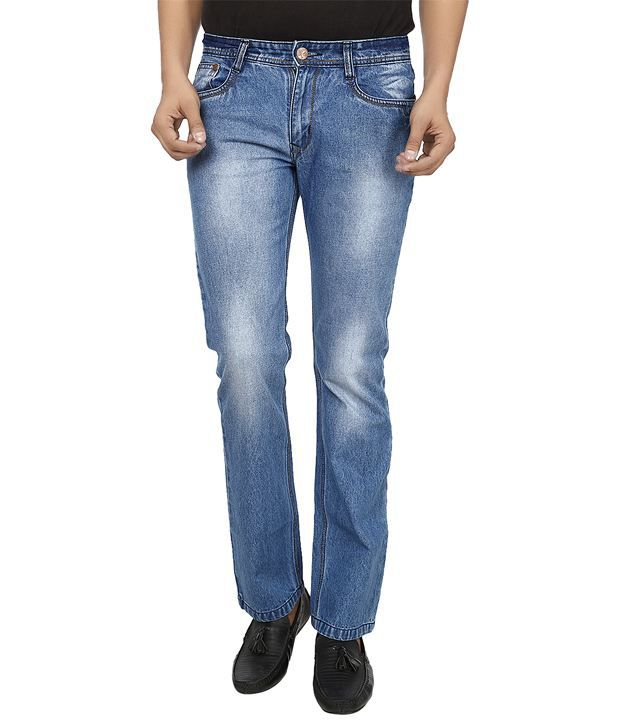 El'monde Blue Straight Fit, Med Waist Denim Jeans
