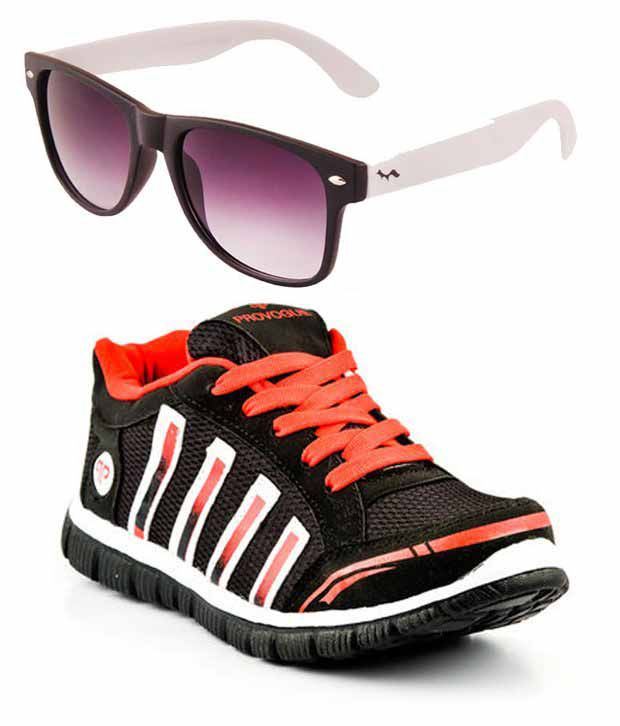 094c092ad4 Provogue Black And Red Running Sport Shoes With Wayfarer Sunglasses - Buy  Provogue Black And Red Running Sport Shoes With Wayfarer Sunglasses Online  at Best ...