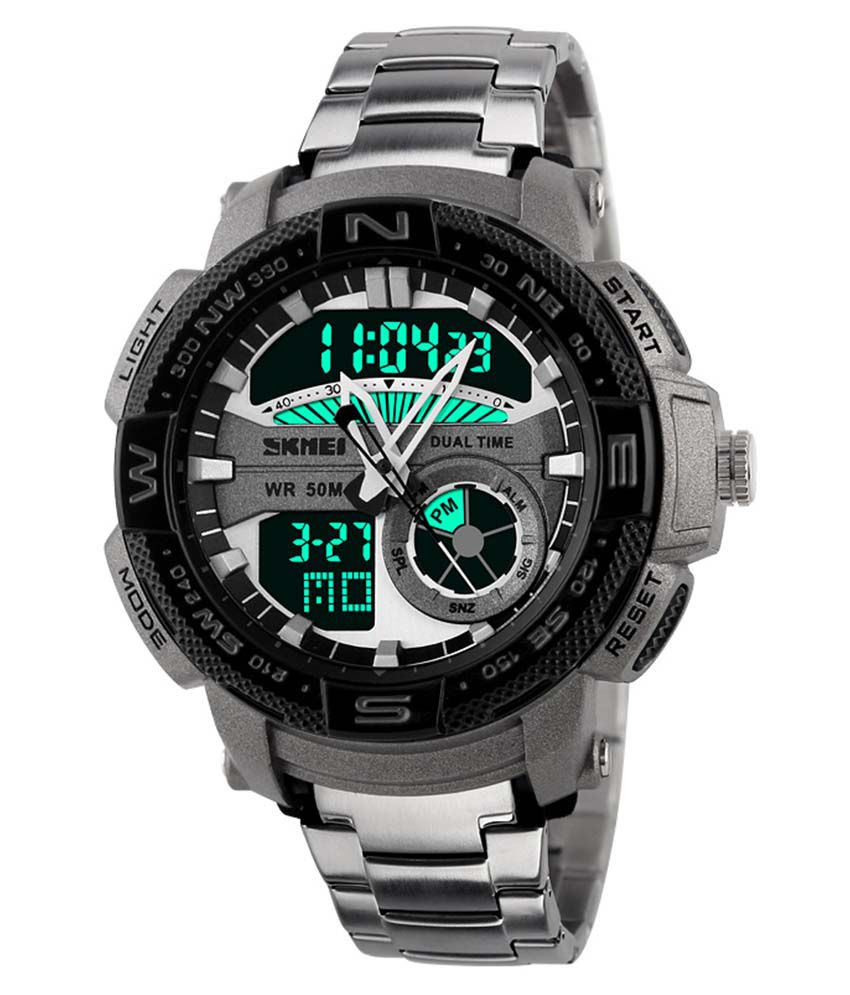 Skmei Silver Round Dial Analog Digital Casual Watch
