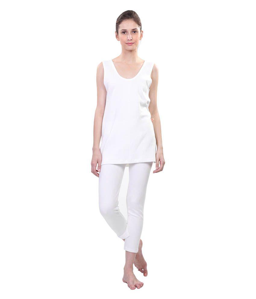 Vimal Winter King White Thermal Top & Bottom Set For Women