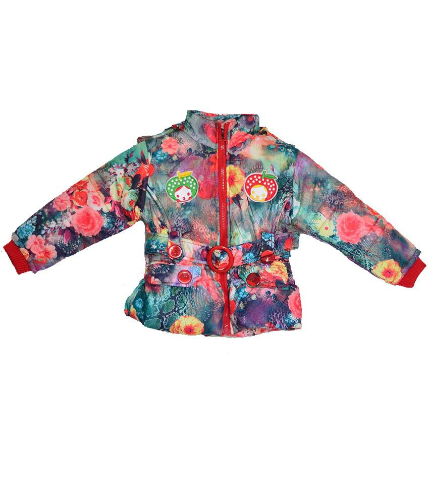 London Girl Multicolour Nylon Floral Hooded Jacket For Girls