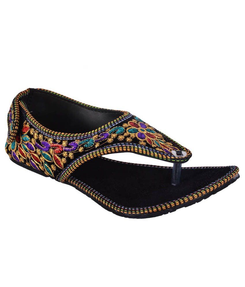 Step India Black Ethnic Sandals