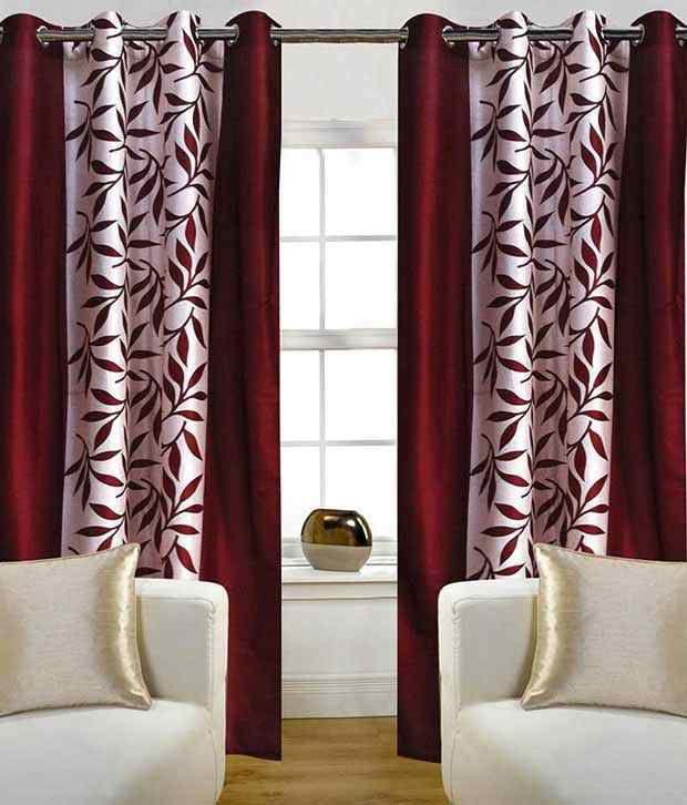 Tanishka Fabs Set of 2 Door Eyelet Curtains Floral Maroon