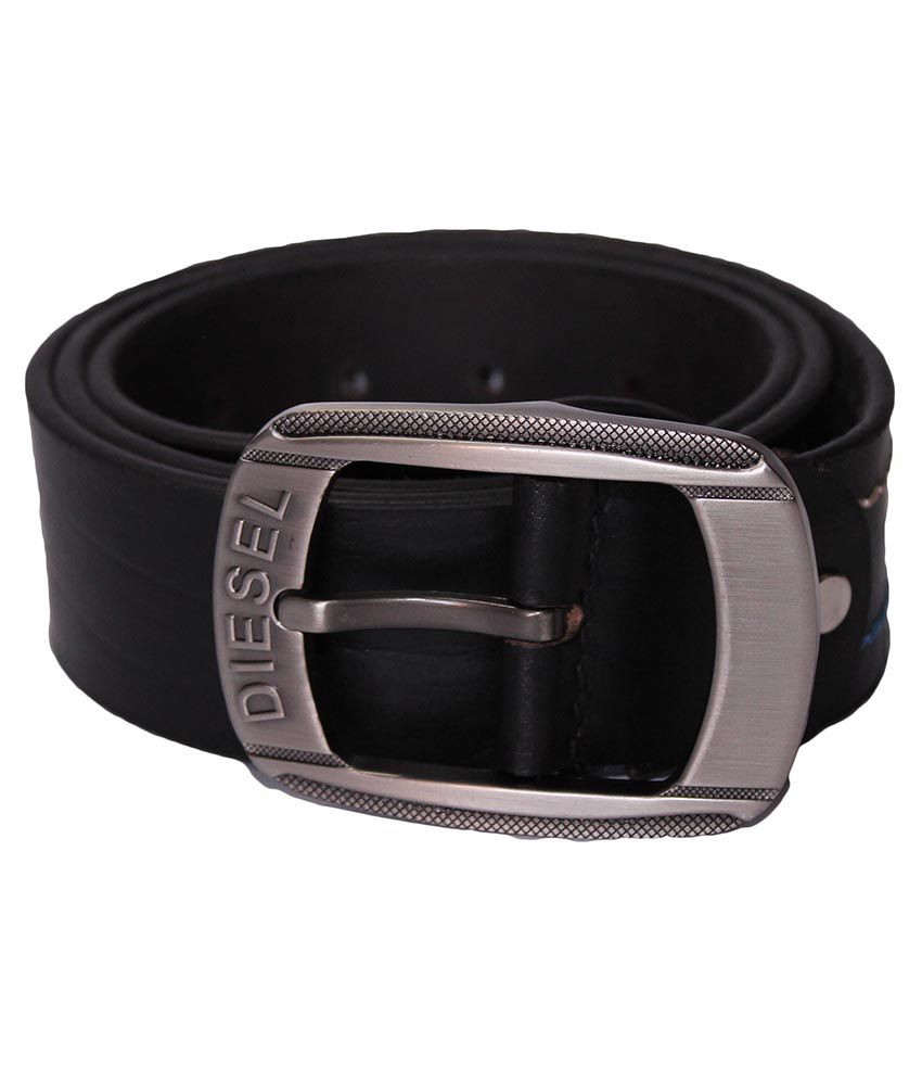 Diesel Black Leather Casual Belt For Men