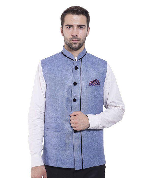 Wintage Blue Rayon Waistcoats