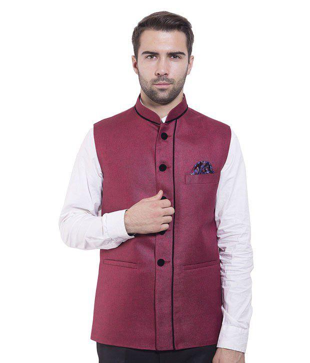Wintage Maroon Rayon Waistcoats