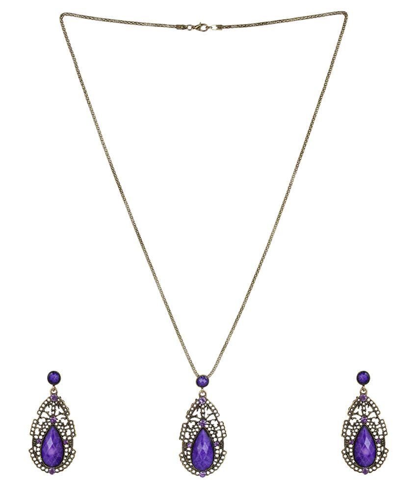 Sans India Purple Style Diva Contemporary Necklace Set