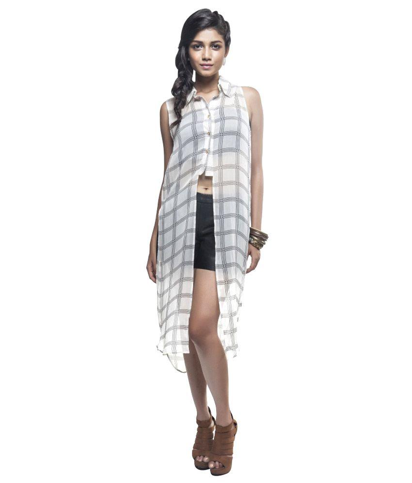 Sassy Stripes White Poly Cotton Tunics