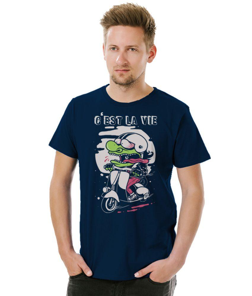 Socratees C'est La Vie Men's designer cotton T-shirt - Navy Blue