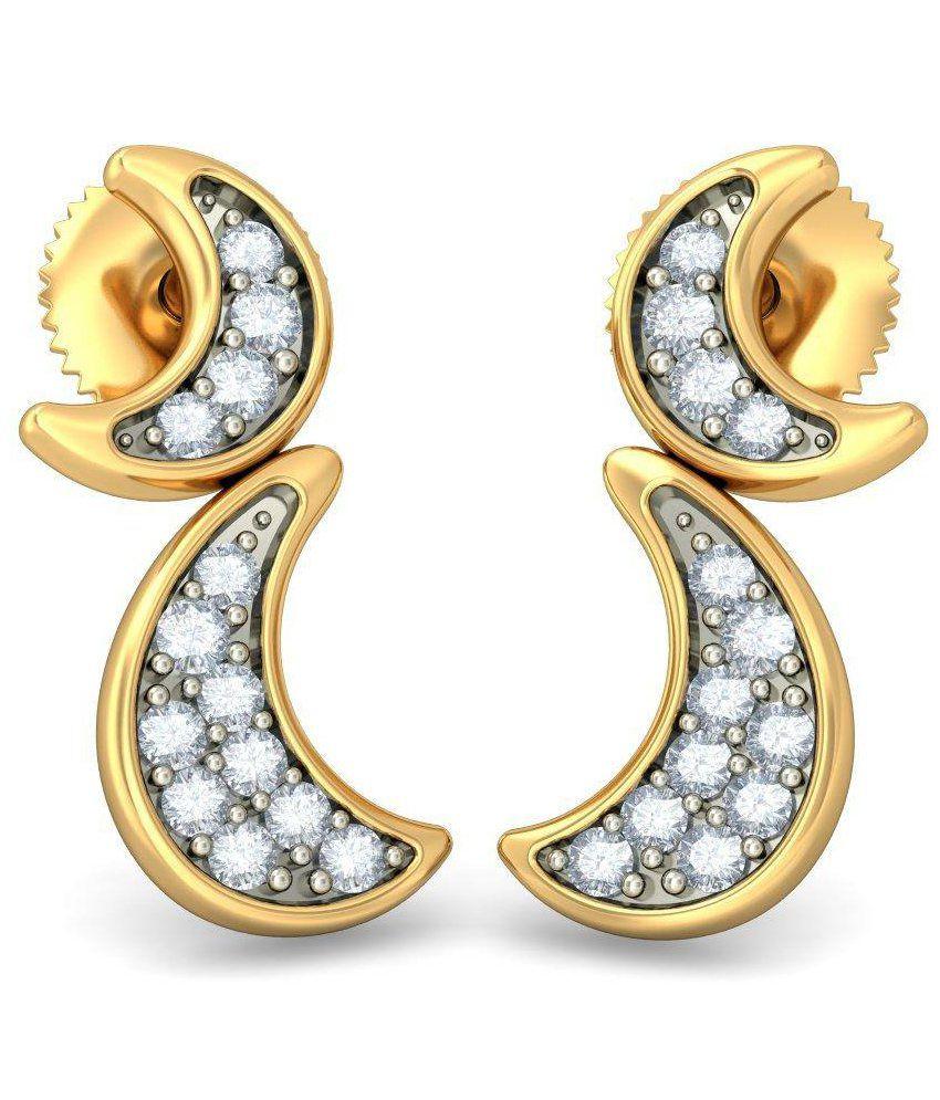 BlueStone 14 Kt Yellow Gold & Diamond Chandrima Stud Earrings