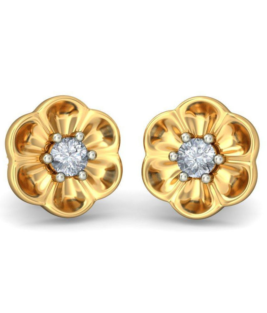 BlueStone 18 Kt Yellow Gold & Diamond Flourishing Floret Stud Earrings