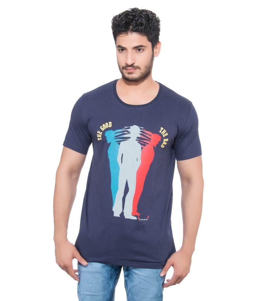 Pavitra Paapi Navy Blue Cotton T-Shirt