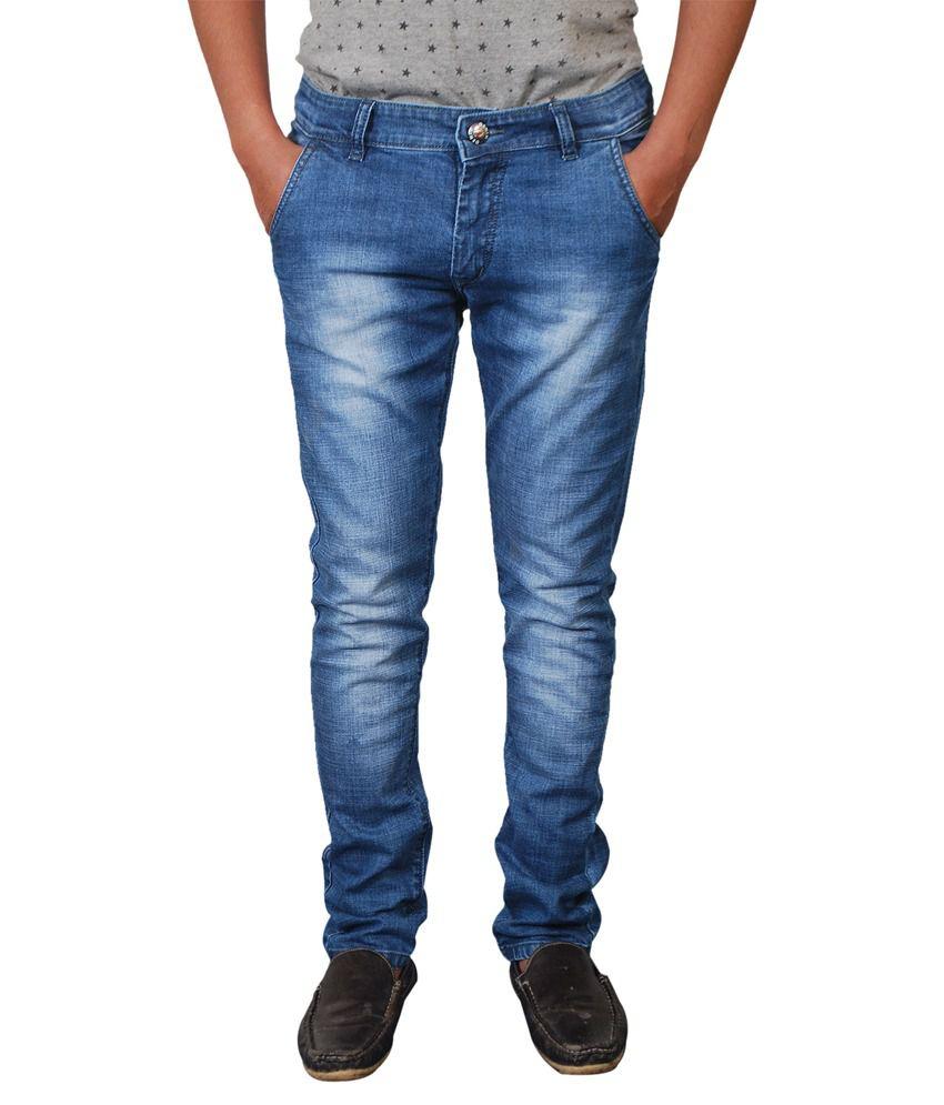 Paranoid Blue Cotton Blend Slim Fit Jeans