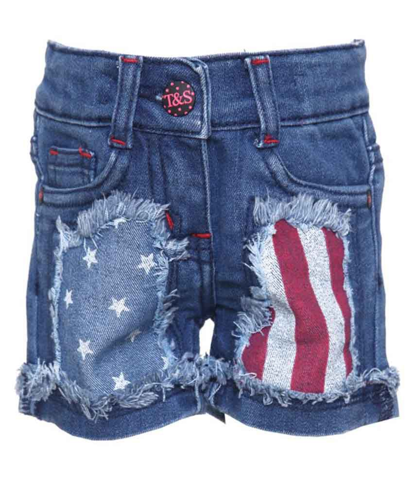 Tales And Stories Blue Denim Shorts
