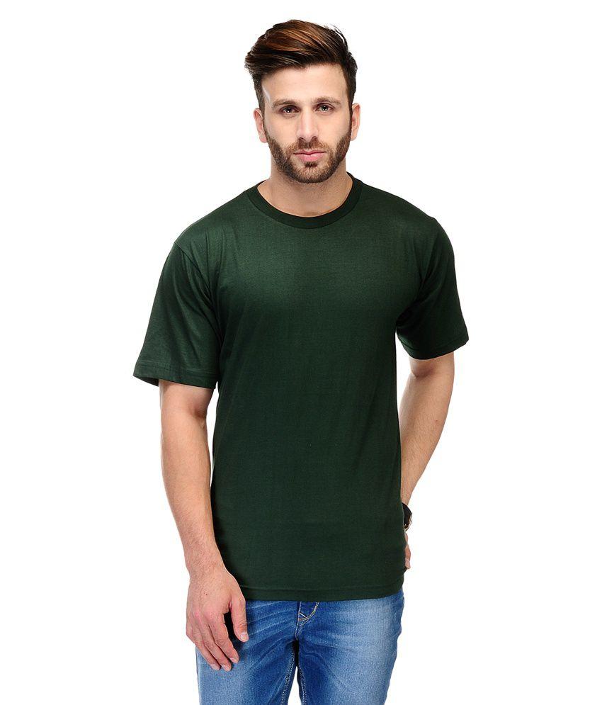 Ausy Green Cotton Blend Half Sleeves T Shirt