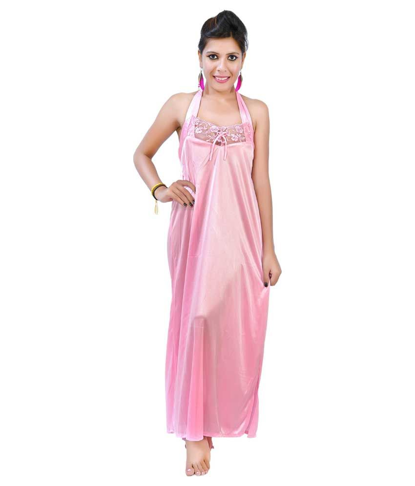 59822806a26b Buy Fashion Zilla Pink Halter Neck Backless Nighty With Gown Online ...