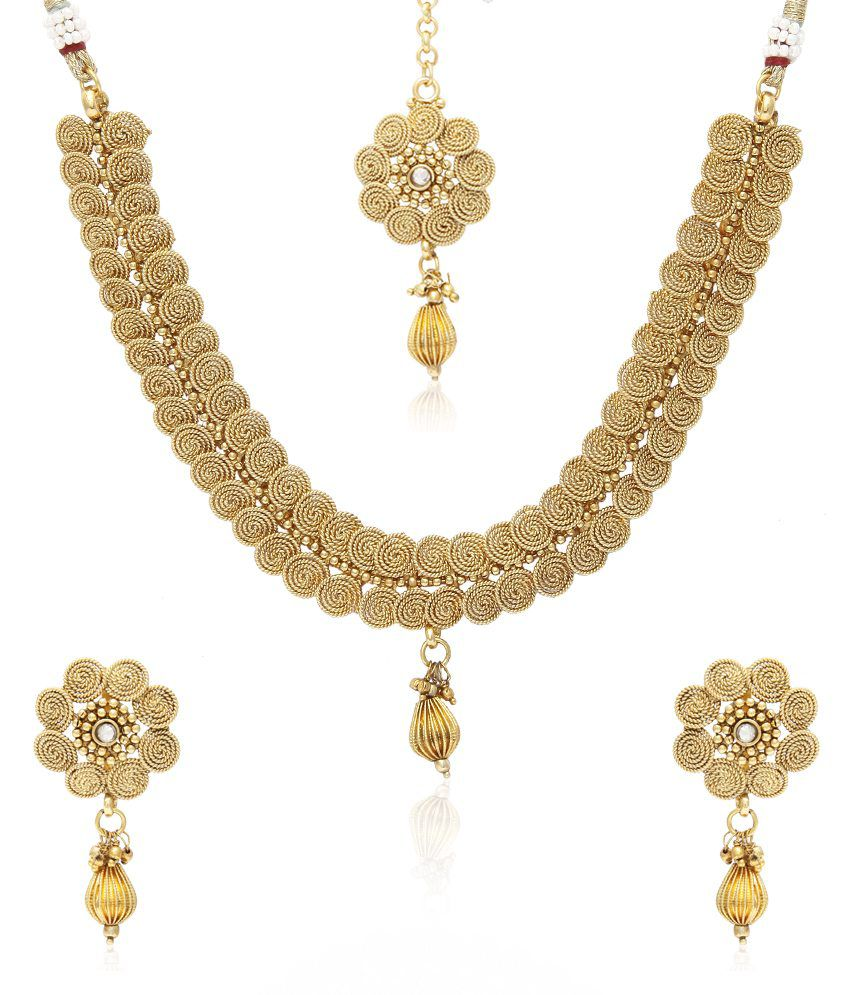 Jewels Galaxy Beautiful Just Like Gold Necklace Set With Maang Tika  Buy  Jewels Galaxy Beautiful Just Like Gold Necklace Set With Maang Tika Online  in India ... 3b9153194