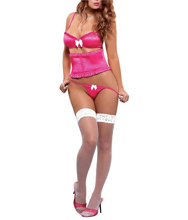 Magic Silk Magic Silk Magic Silk: Satin Treasures Bra Waist Cincher & Micro Thong