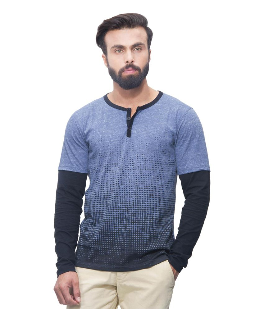 Avoir Envie Blue & Black Cotton Blend Printed Henley T-shirt
