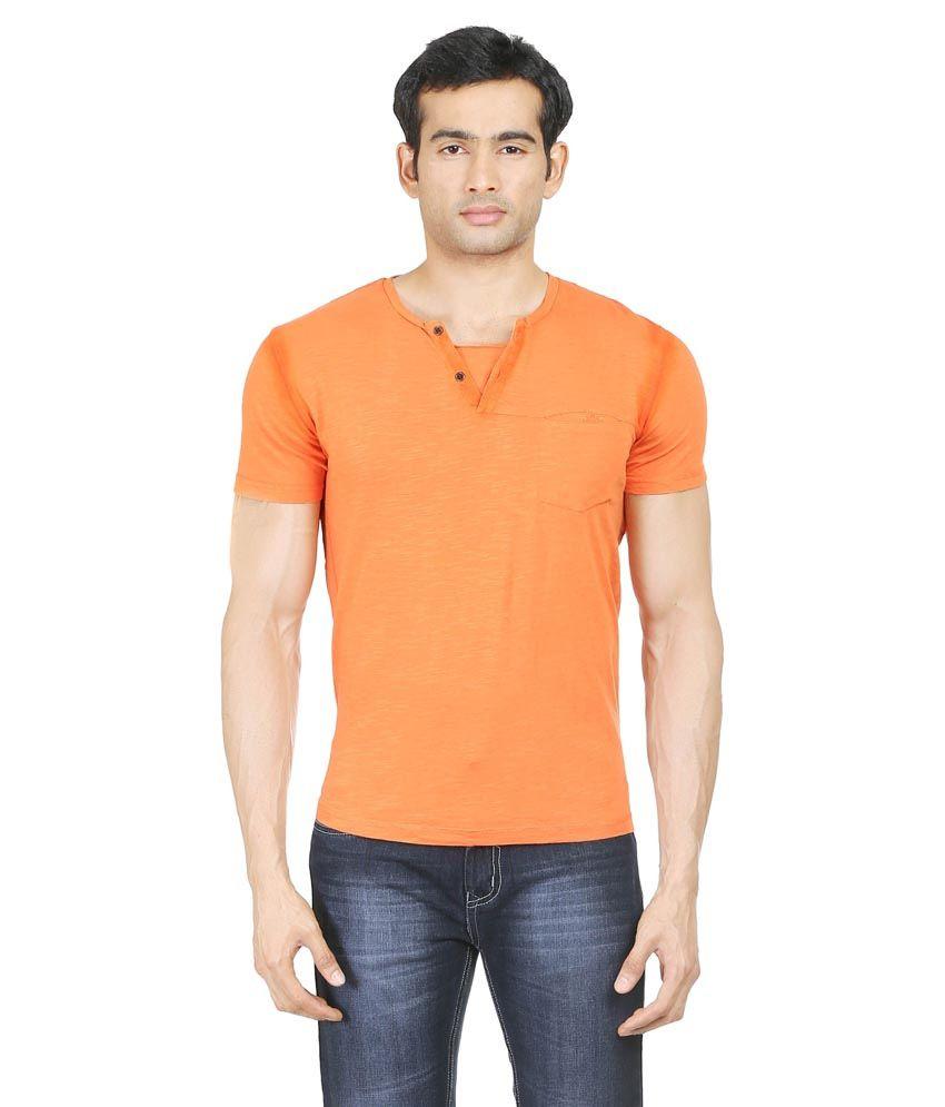 Blumerq Orange 100 Percent Cotton T-Shirt