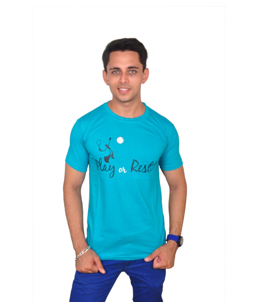 Joker Turquoise & Black Cotton Blend T-shirt
