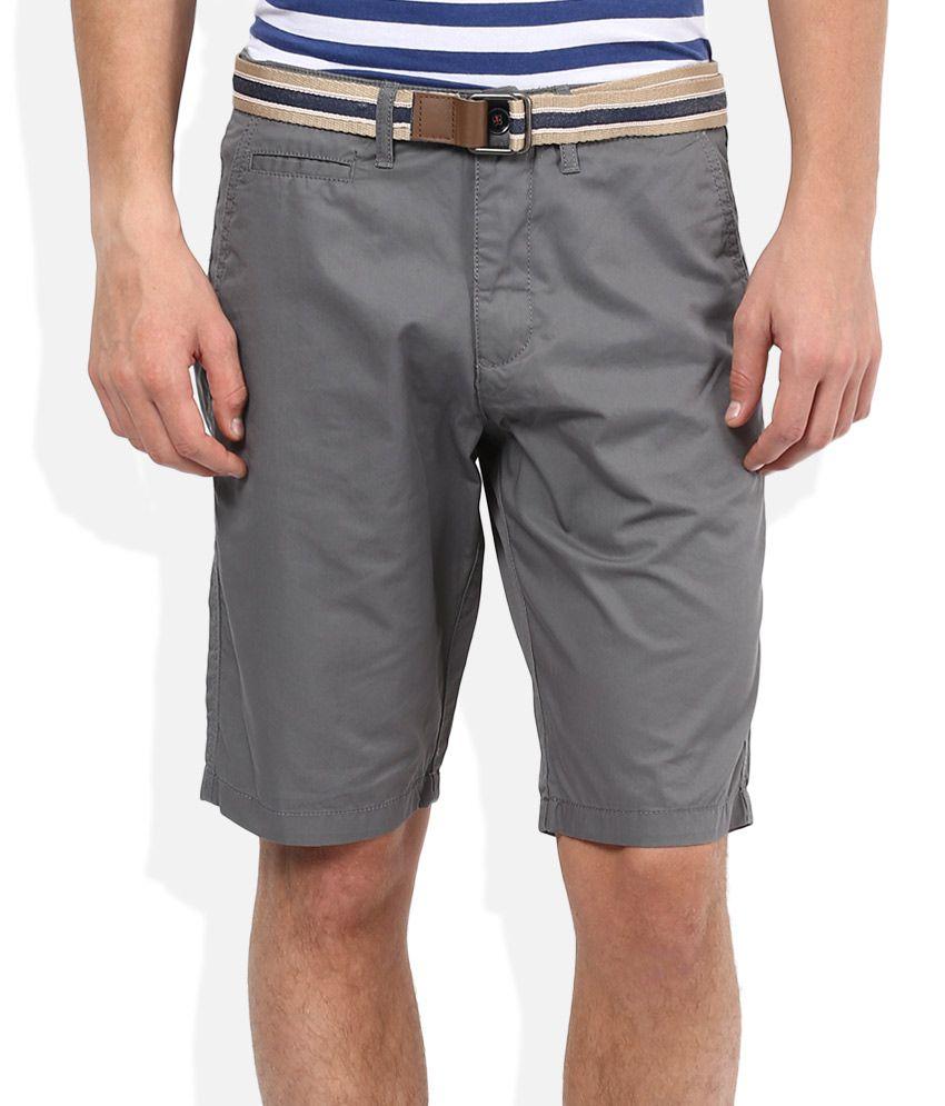 Celio Grey Solid Shorts