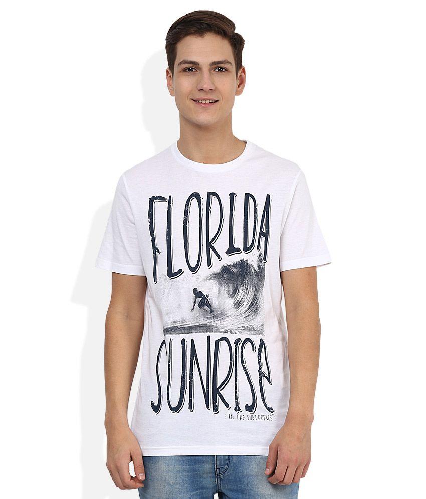 Celio White Round Neck Printed T-Shirt