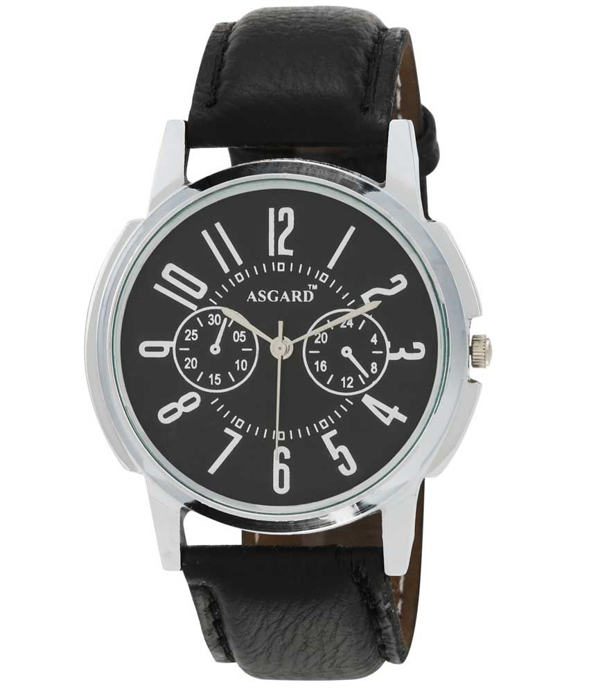 Asgard Black Leather Round Analog Watch For Men