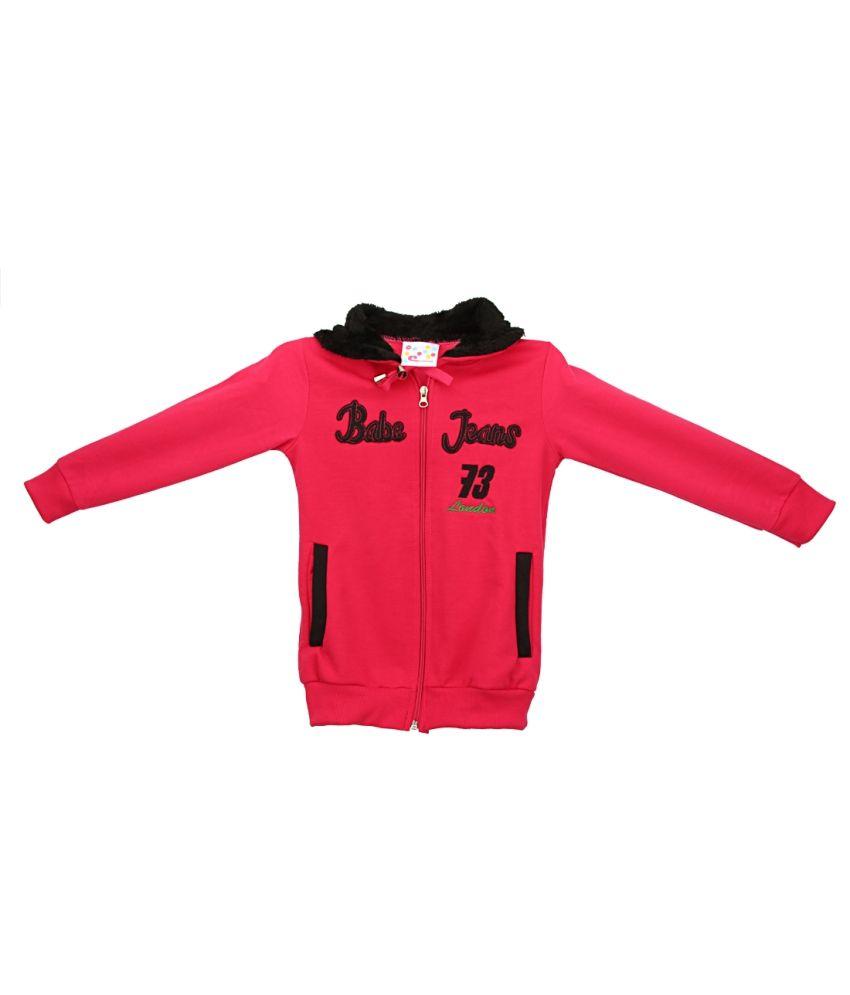 Eimoie Pink Full Sleeves Fleece Jacket With Hood