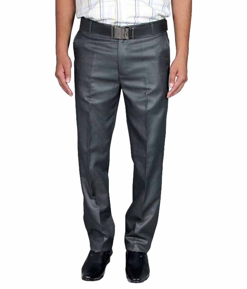 Febulous Black Regular Fit Formal Flat Trouser