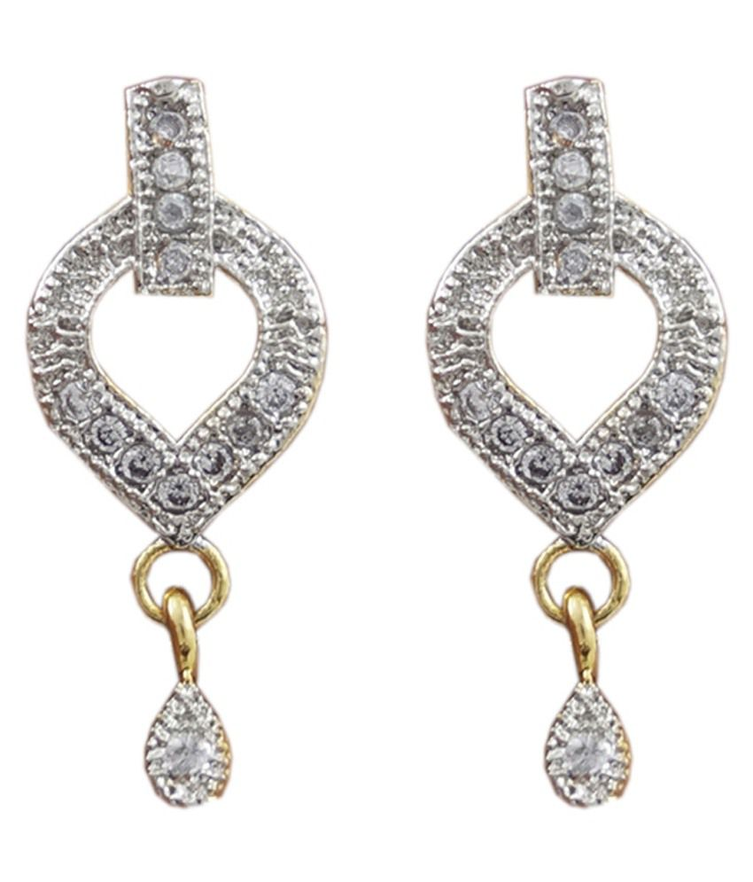 Jeweley Place Antique Gold Plated American Diamond Earrings