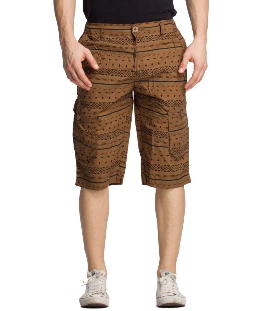 Bodymark Brown Cotton Printed 3/4ths