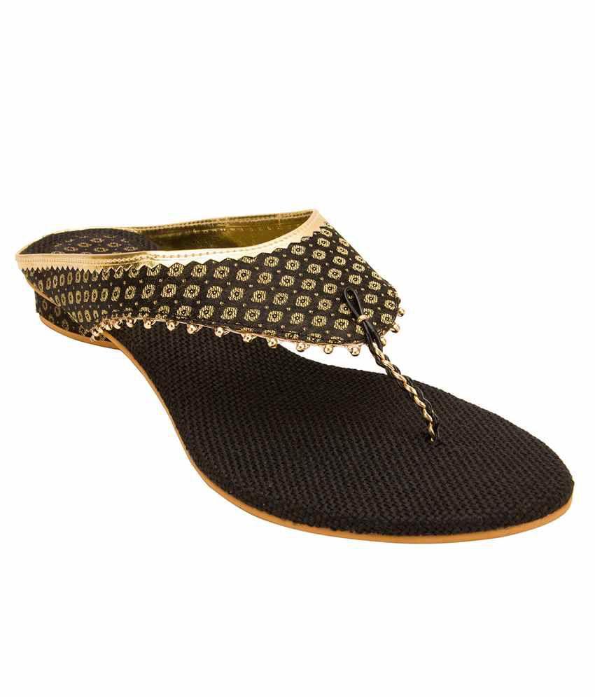 Footrendz Black Heeled Slip Ons